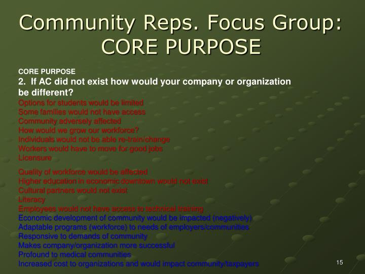 Community Reps. Focus Group: