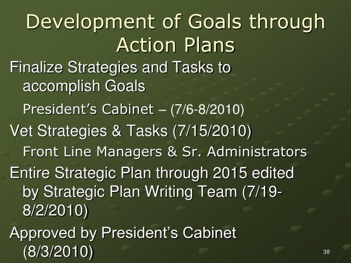Development of Goals through Action Plans