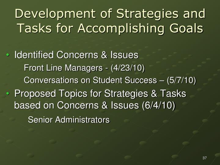Development of Strategies and Tasks for Accomplishing Goals