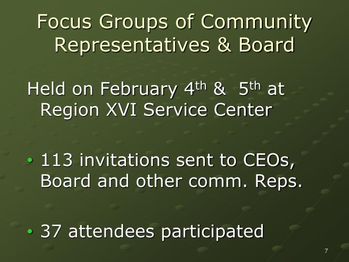 Focus Groups of Community Representatives & Board