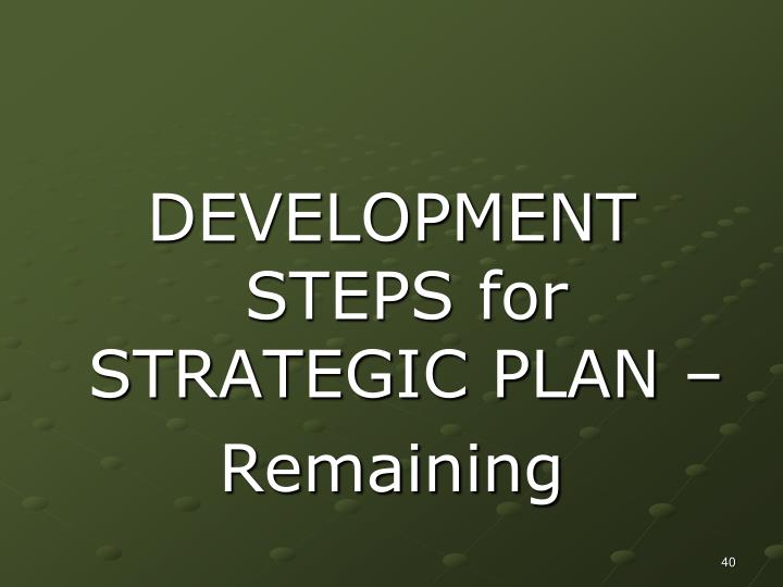 DEVELOPMENT STEPS for STRATEGIC PLAN –