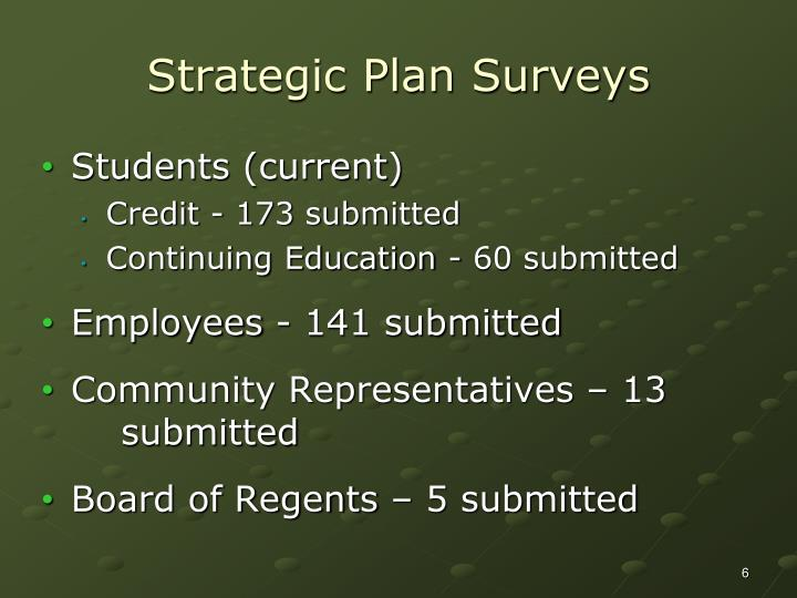 Strategic Plan Surveys