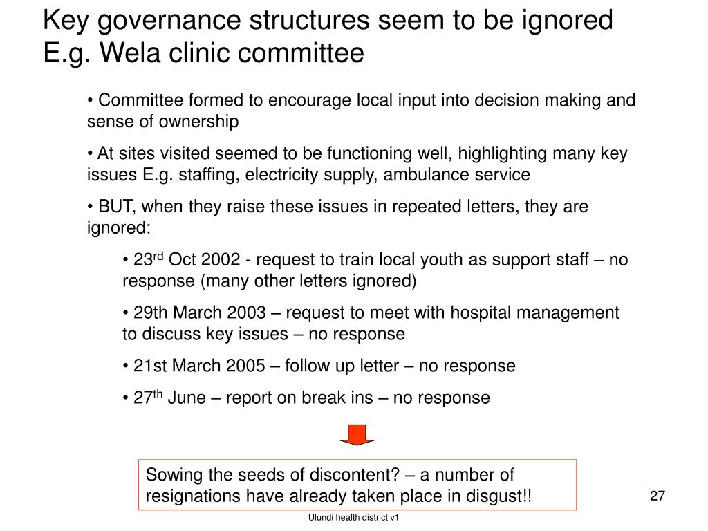Key governance structures seem to be ignored E.g. Wela clinic committee