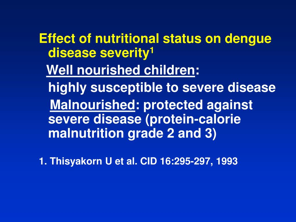 Effect of nutritional status on dengue disease severity