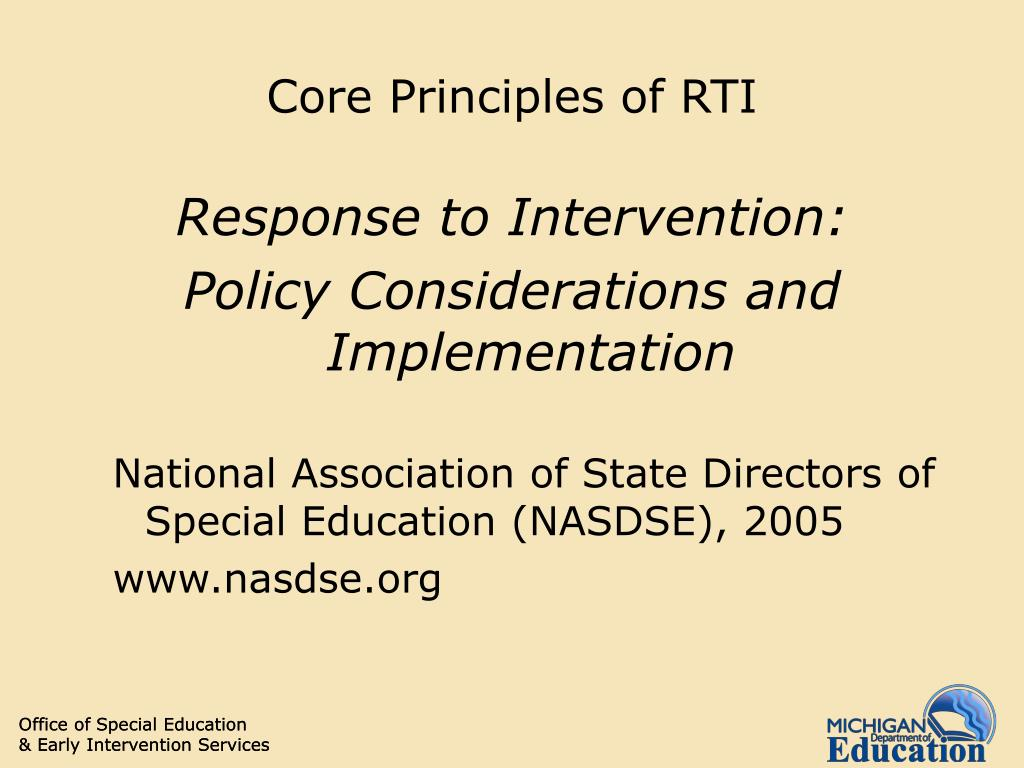Core Principles of RTI