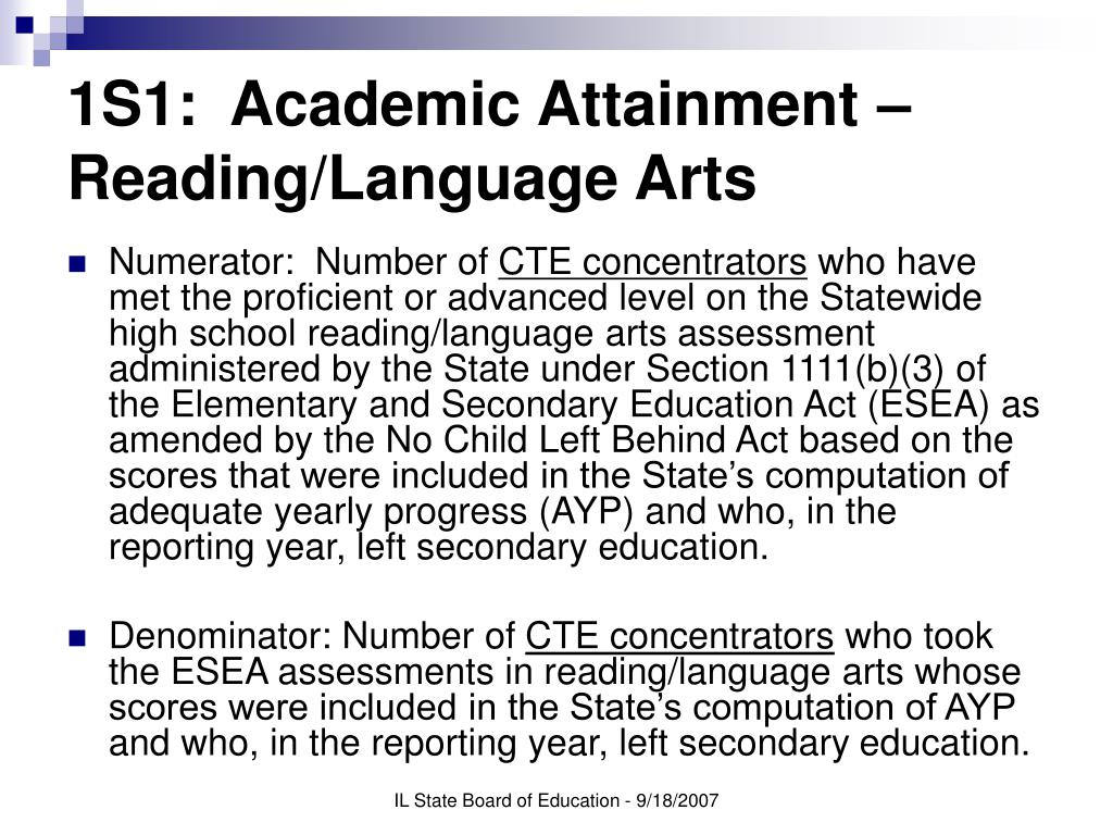 1S1:  Academic Attainment – Reading/Language Arts