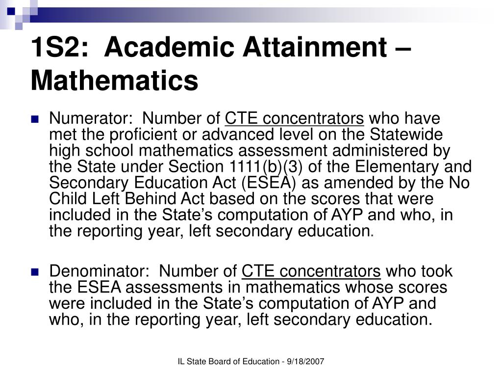 1S2:  Academic Attainment – Mathematics