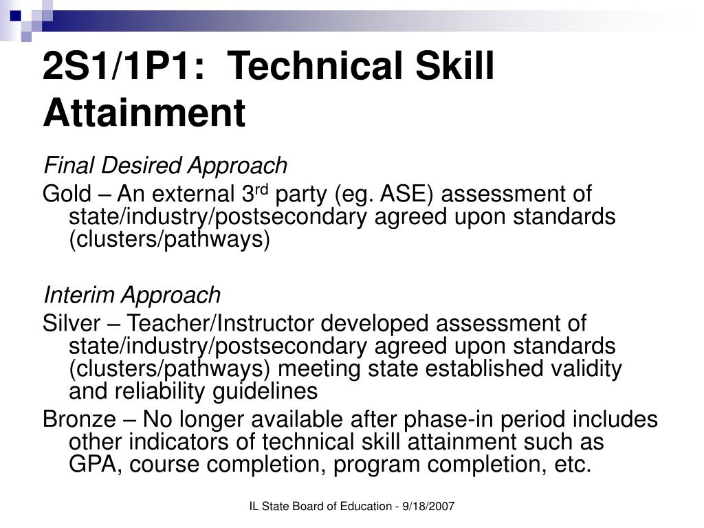 2S1/1P1:  Technical Skill Attainment