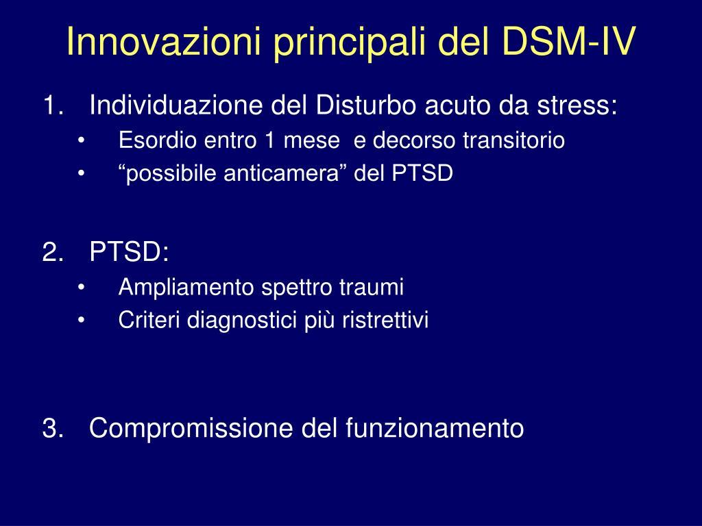 Innovazioni principali del DSM-IV