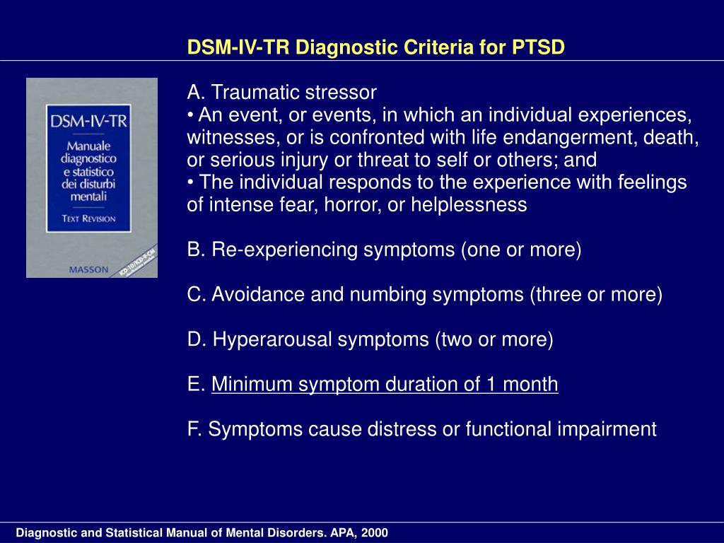 DSM-IV-TR Diagnostic Criteria for PTSD