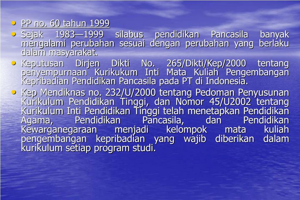 PP no. 60 tahun 1999