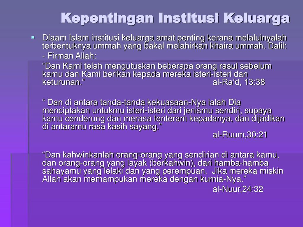 Kepentingan Institusi Keluarga