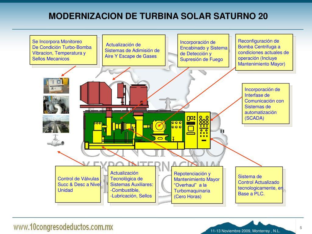MODERNIZACION DE TURBINA SOLAR SATURNO 20
