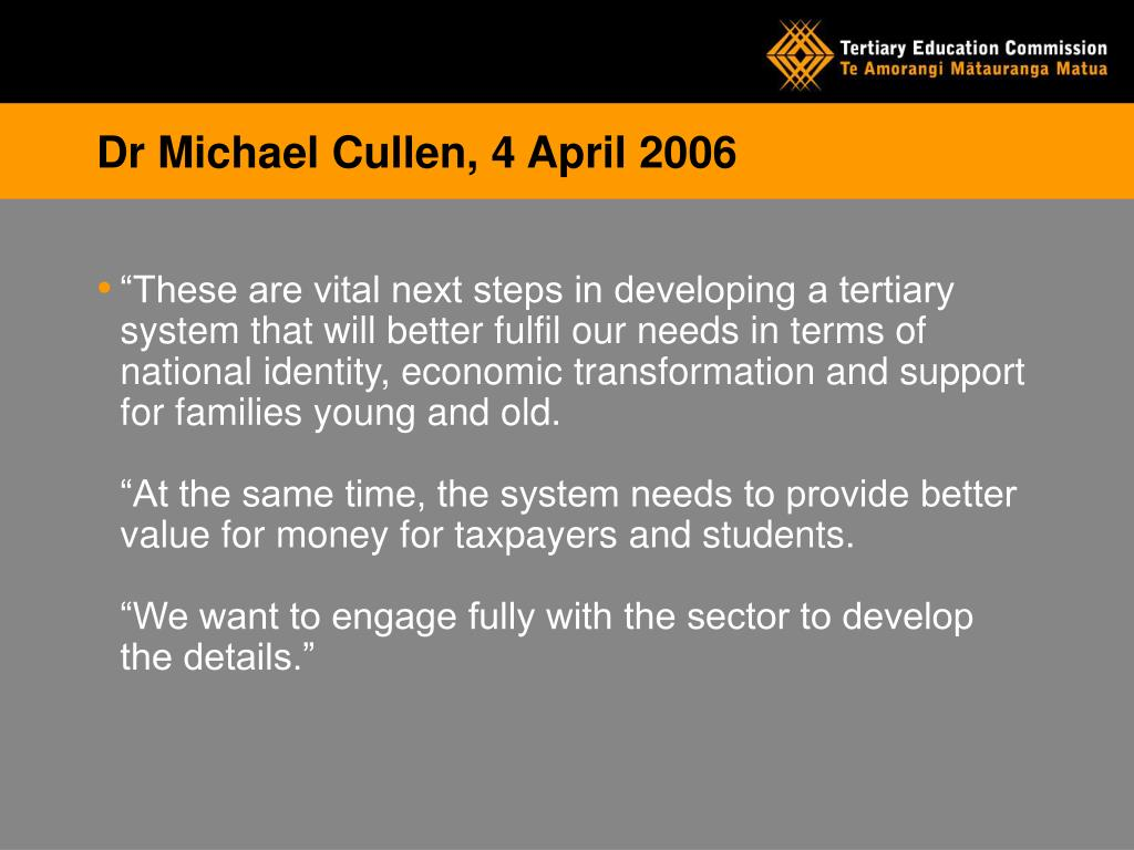 Dr Michael Cullen, 4 April 2006