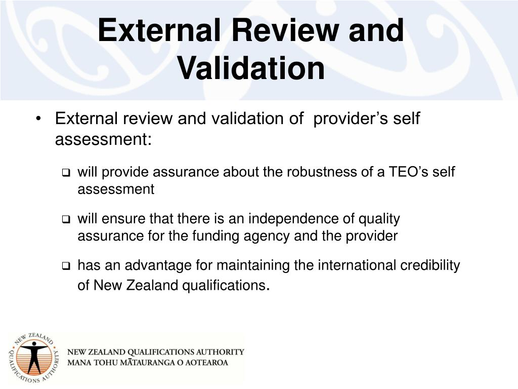External Review and Validation