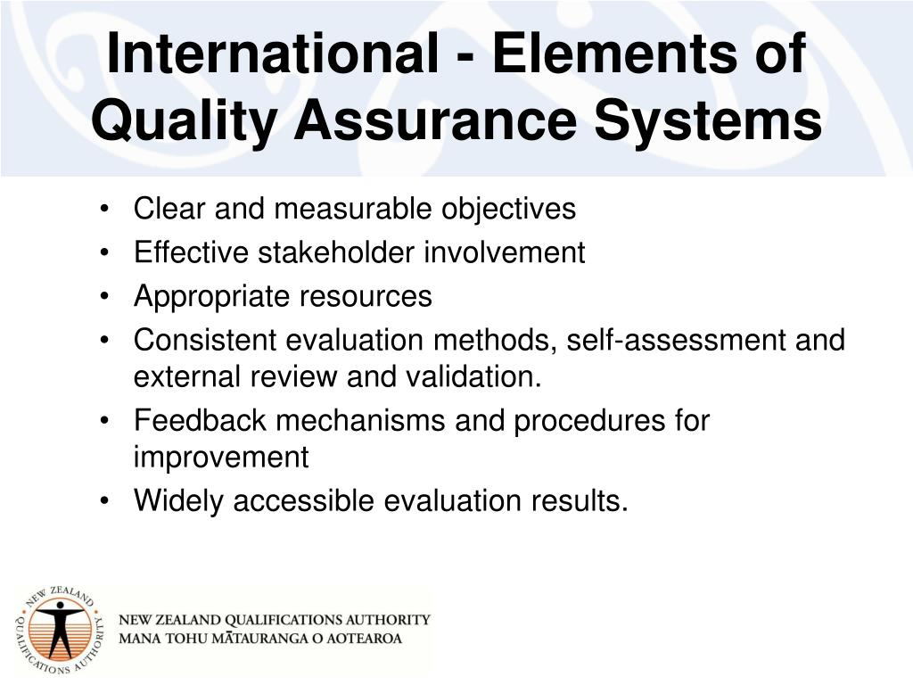 International - Elements of Quality Assurance Systems