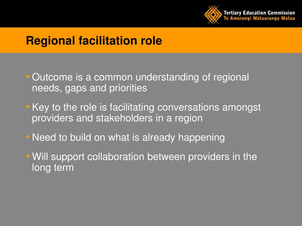 Regional facilitation role