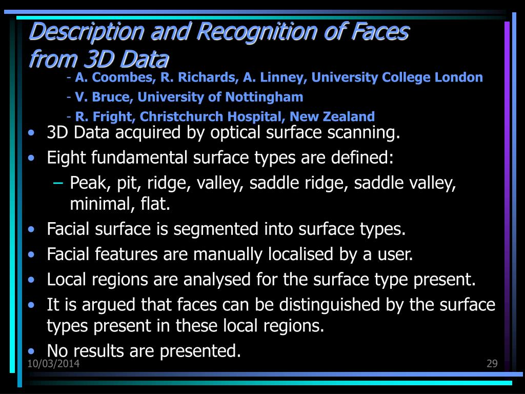 Description and Recognition of Faces from 3D Data