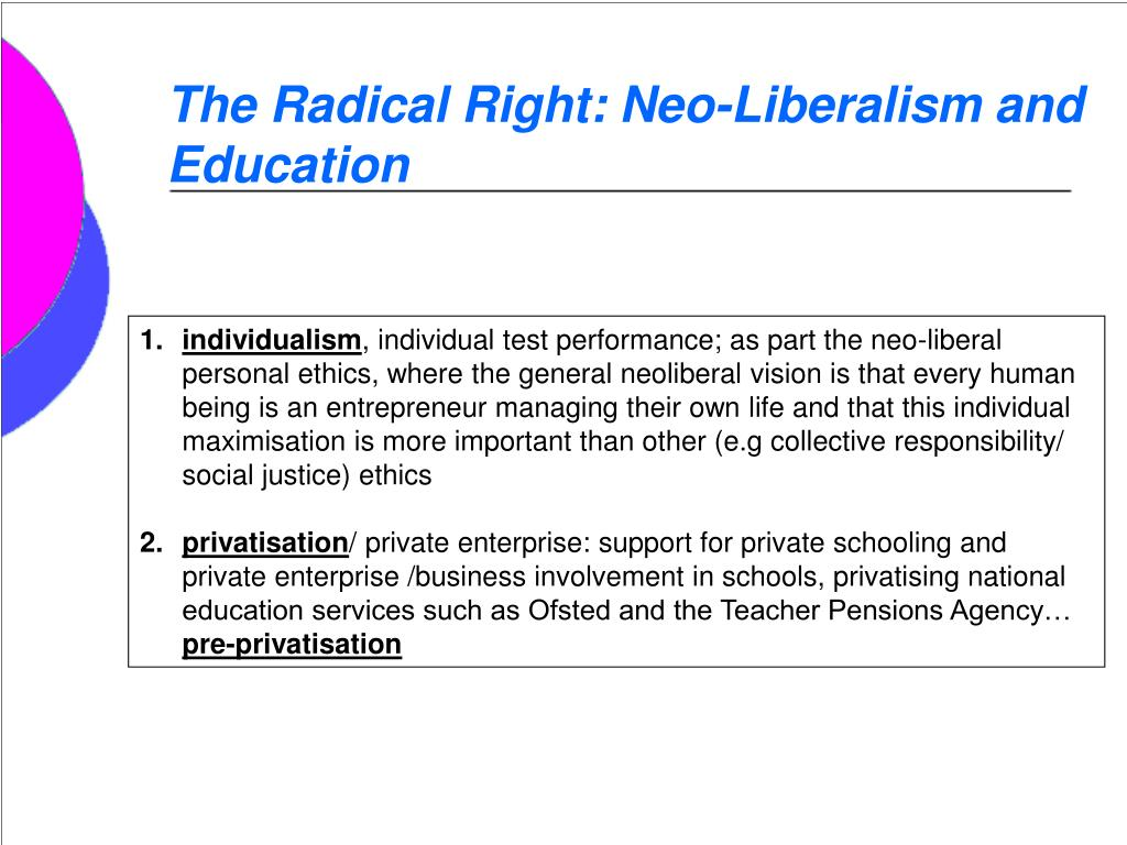 The Radical Right: Neo-Liberalism and Education