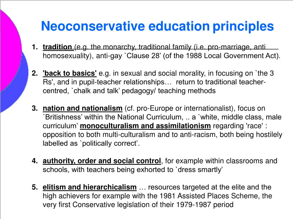 Neoconservative education