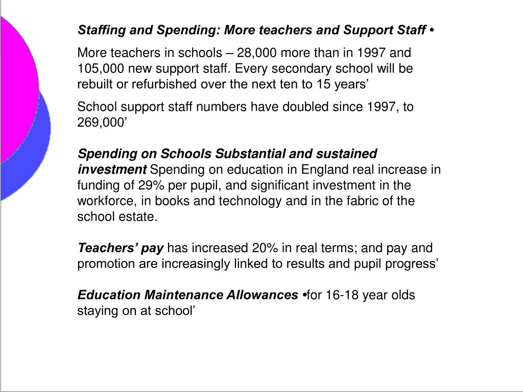 Staffing and Spending: More teachers and Support Staff •