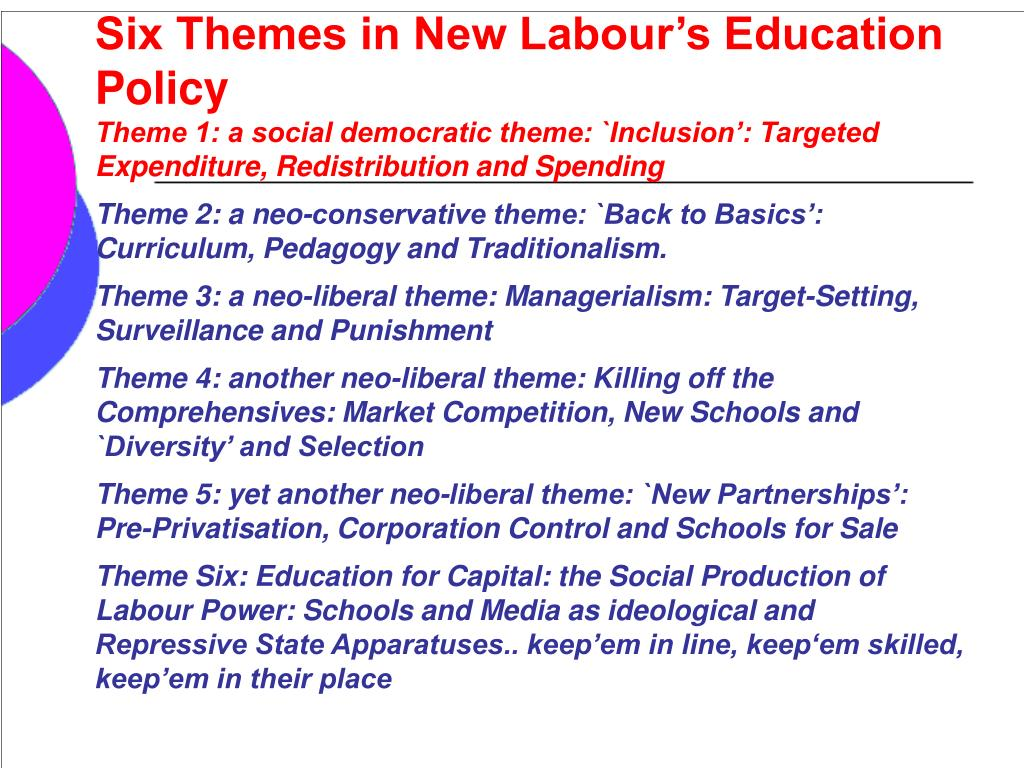 Six Themes in New Labour's Education Policy