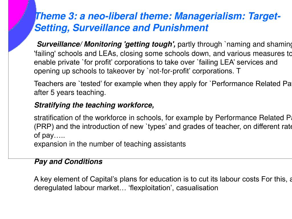 Theme 3: a neo-liberal theme: Managerialism: Target-Setting, Surveillance and Punishment