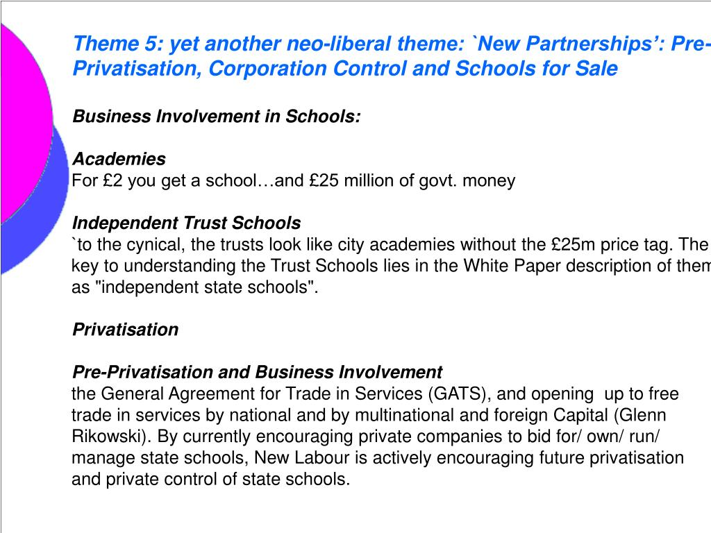 Theme 5: yet another neo-liberal theme: `New Partnerships': Pre-Privatisation, Corporation Control and Schools for Sale