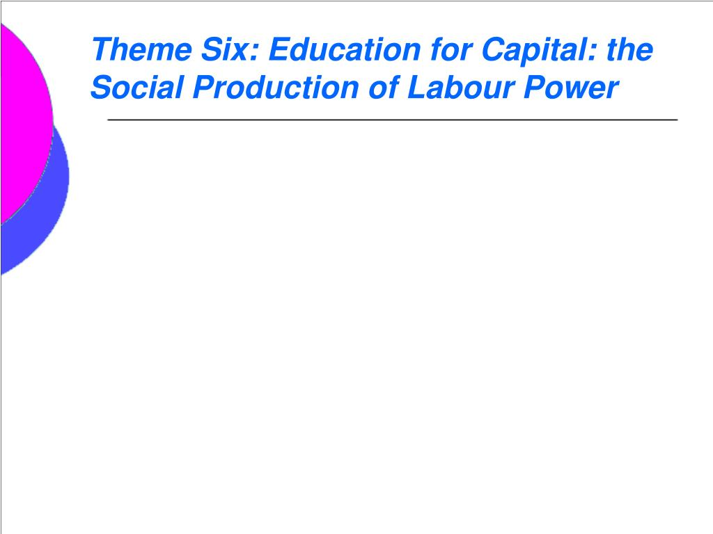 Theme Six: Education for Capital: the Social Production of Labour Power