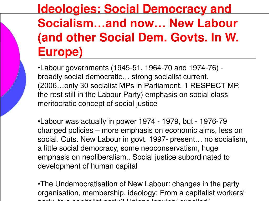 Ideologies: Social Democracy and Socialism…and now… New Labour (and other Social Dem. Govts. In W. Europe)