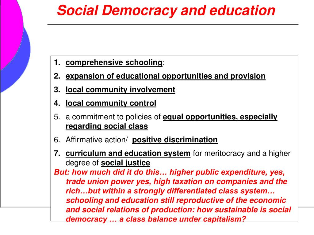 Social Democracy and education