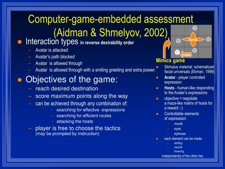 Computer-game-embedded assessment (Aidman & Shmelyov, 2002)
