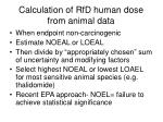 calculation of rfd human dose from animal data