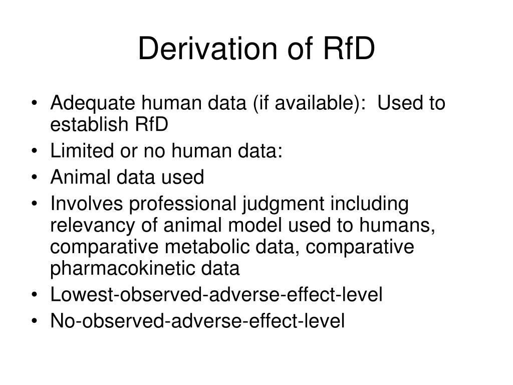 Derivation of RfD