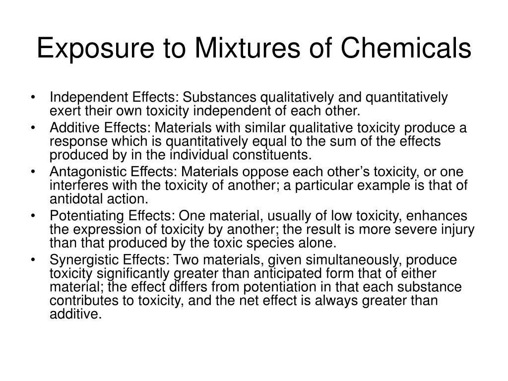 Exposure to Mixtures of Chemicals