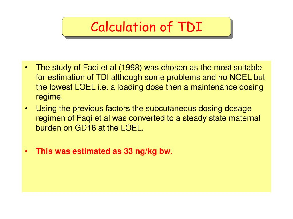 Calculation of TDI