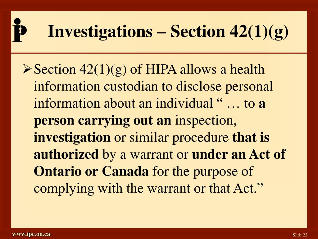 Investigations – Section 42(1)(g)