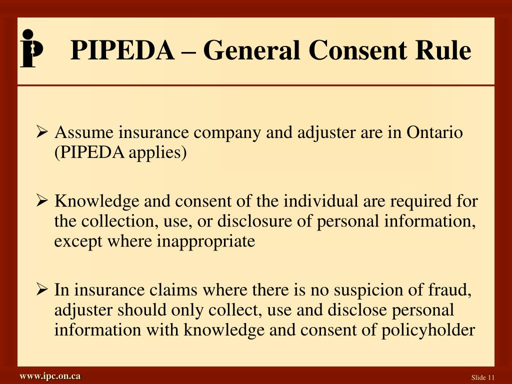 PIPEDA – General Consent Rule