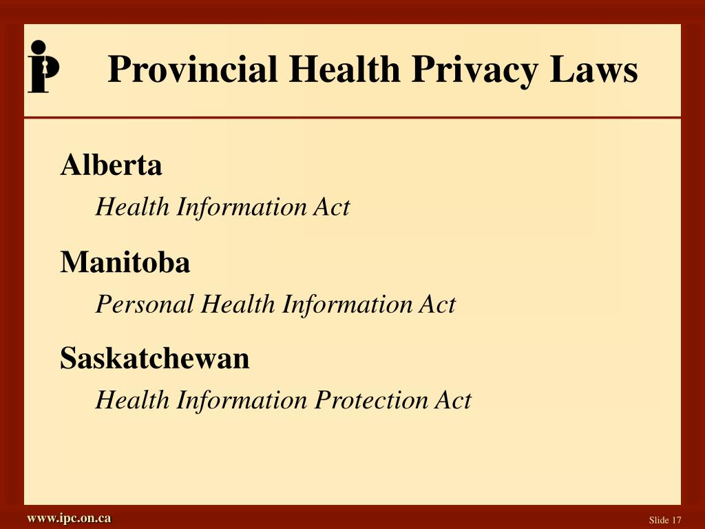 Provincial Health Privacy Laws