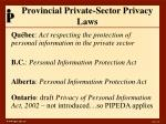 provincial private sector privacy laws