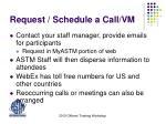 request schedule a call vm