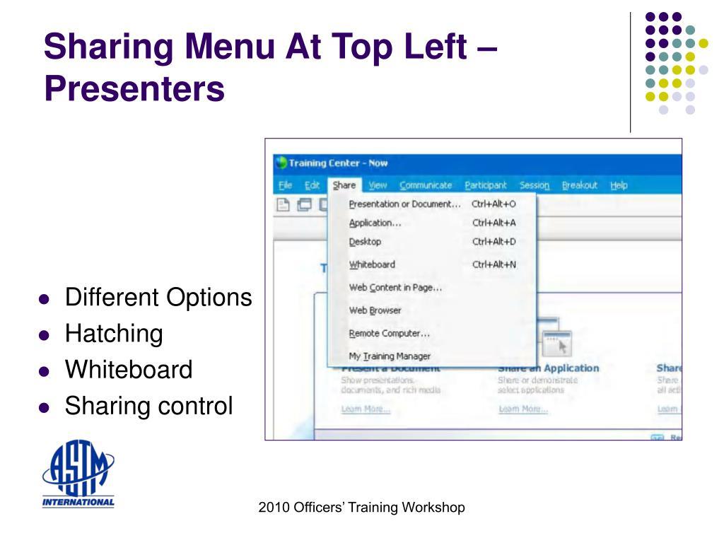 Sharing Menu At Top Left – Presenters