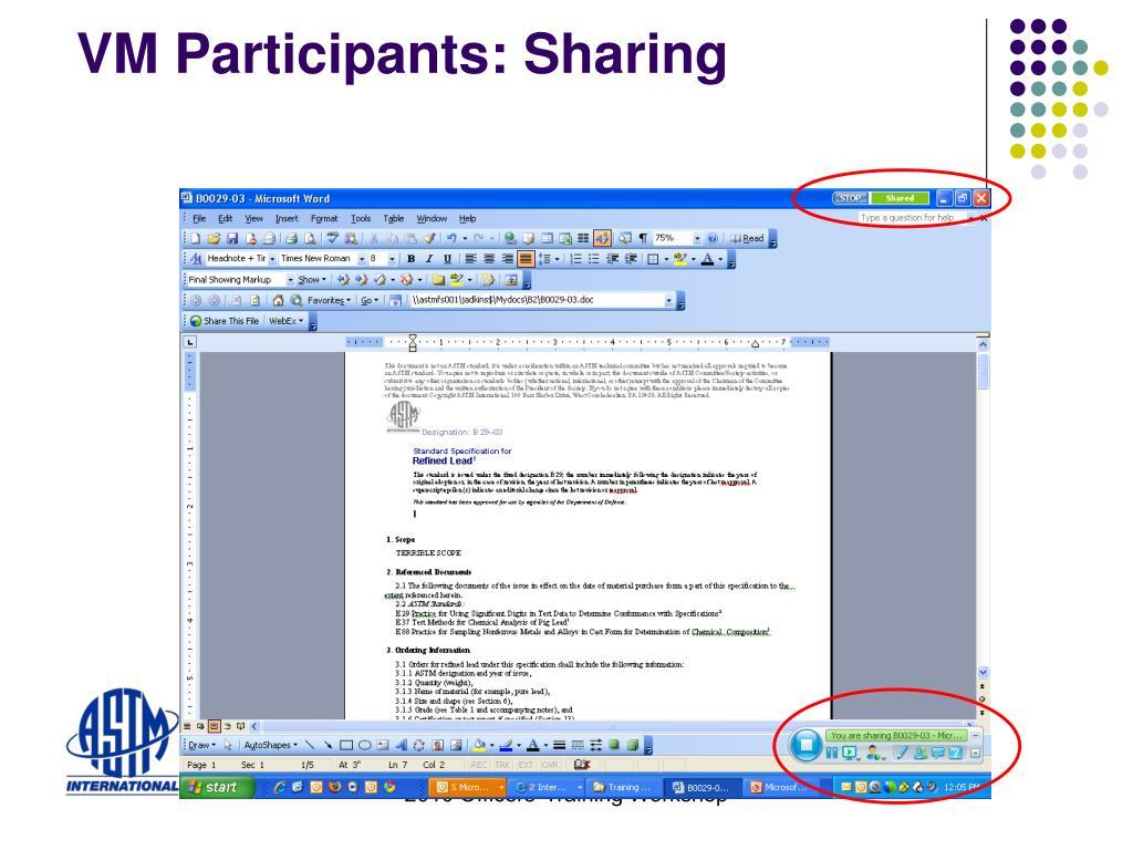 VM Participants: Sharing