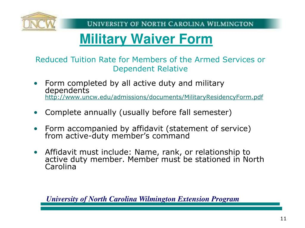 Military Waiver Form