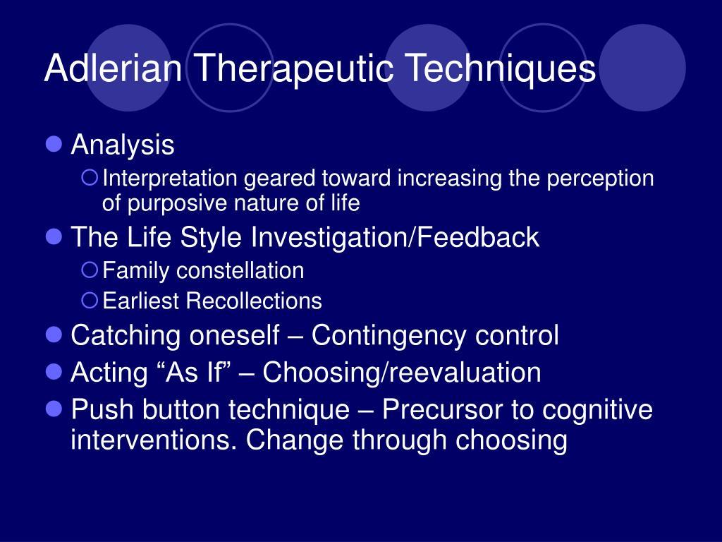 Adlerian Therapeutic Techniques