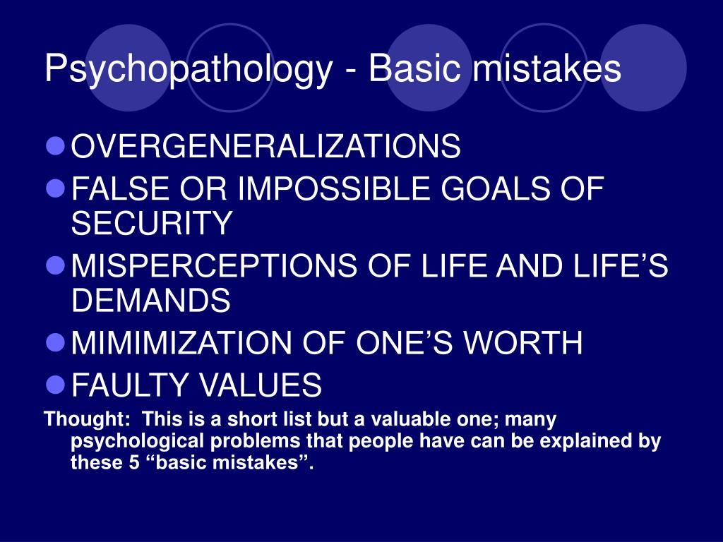 Psychopathology - Basic mistakes