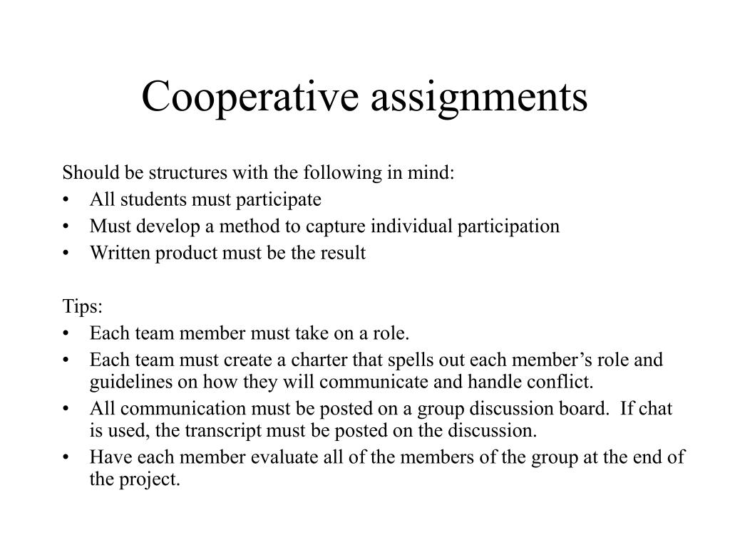 Cooperative assignments