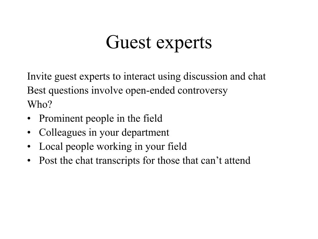 Guest experts