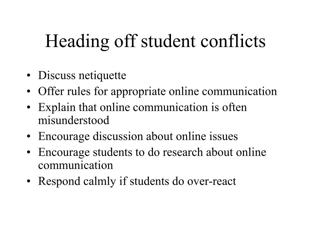 Heading off student conflicts