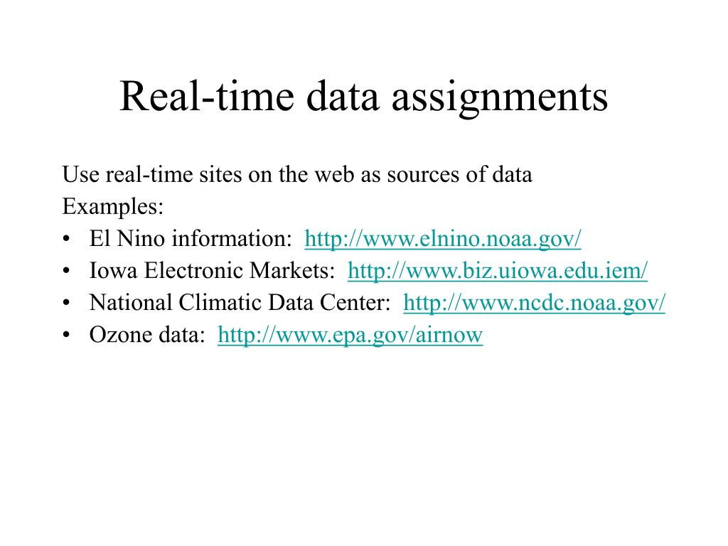 Real-time data assignments